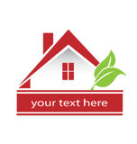 Logo Modern Red house and leafs Royalty Free Stock Photos