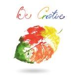 Logo moderne créatif de feuille d'arbre d'eco peint dans l'aquarelle Images libres de droits