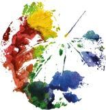 Logo moderne créatif de feuille d'arbre d'eco peint dans l'aquarelle Images stock