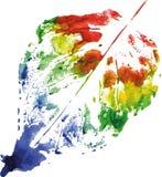 Logo moderne créatif de feuille d'arbre d'eco peint dans l'aquarelle Photographie stock