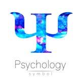 Logo moderne de livre par pouce carré d'aquarelle de la psychologie Type créateur Logotype dedans Concept de construction Société illustration stock