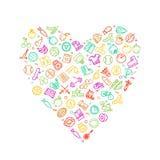 Logo moderne de mode de vie sain dans la forme de coeur avec la ligne mince icônes de forme physique Photo libre de droits