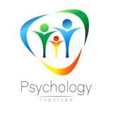 Logo moderno della famiglia di psicologia La gente in un cerchio Stile creativo Logotype nel vettore Concetto di progetto Società illustrazione vettoriale