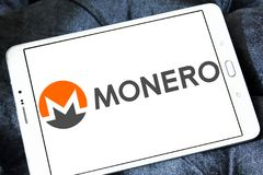 Monero cryptocurrency logo. Logo of Monero cryptocurrency on samsung tablet . Monero , XMR , is an open-source cryptocurrency that focuses on privacy Stock Image