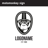 Logo monkey wearing a helmet Stock Photo