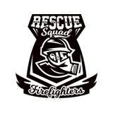 Logo monochrome, emblème, pompier dans un masque de gaz illustration stock