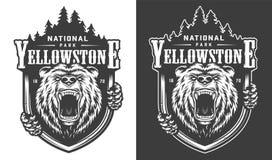 Logo monocromatico d'annata del parco nazionale di Yellowstone illustrazione di stock
