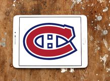 Montreal Canadiens ice hockey team logo. Logo of Montreal Canadiens club on samsung tablet. Montreal Canadiens are a professional ice hockey team based in Royalty Free Stock Images