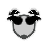 Logo Moose head on a shield. Emblem for  hunting Club. Vector il Stock Photo