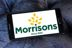 Morrisons Supermarkets chain logo. Logo of Morrisons Supermarkets chain on samsung mobile.  Morrisons, is the fourth largest chain of supermarkets behind Tesco Royalty Free Stock Photos