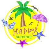 Logo morze, piasek i drzewko palmowe kreskówka, ilustracja wektor