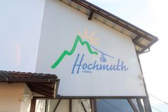 Logo of mountain Funicular Hochmuth cable car in Tirol, South Tyrol. Italy royalty free stock image