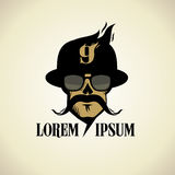 Logo with moustached skull dressed in hat and glasses. Stock Photography