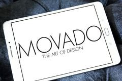 Movado watchmaker logo. Logo of Movado watchmaker on samsung tablet . Movado is a Swiss watchmaker best known for its Museum Watch Stock Photography
