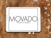 Movado watchmaker logo. Logo of Movado watchmaker on samsung tablet on wooden background. Movado is a Swiss watchmaker best known for its Museum Watch Royalty Free Stock Image