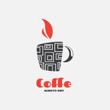Logo mug for menus and labels. Black mug with squares and red flames. Illustration for design of your restaurant Royalty Free Stock Photo