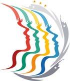 Logo multi de visages illustration de vecteur