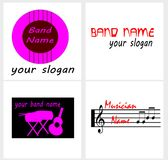 Logo for a Music Band or a Musician. Thisi is a vector illustration. The illustration shows five logos for a music band or a musician. The first illustration is Stock Images
