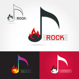 Logo for a musical rock band. Template logo for a musical rock band with scythe, fire. Rock music vector, grunge logo,on white background Vector illustration Royalty Free Stock Photo