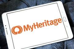 MyHeritage online genealogy platform logo. Logo of MyHeritage on samsung tablet. MyHeritage is an online genealogy platform with web, mobile, and software stock photo