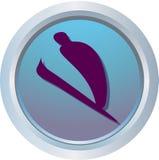 logo na nartach jumping Fotografia Royalty Free