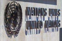 Logo naród zjednoczony na wejściu UN biuro przy Genewa, Szwajcaria Obraz Stock