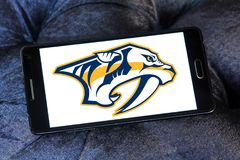 Nashville Predators ice hockey team logo. Logo of Nashville Predators club on samsung mobile. The Nashville Predators are a professional ice hockey team Royalty Free Stock Photography