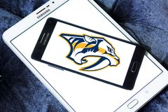 Nashville Predators ice hockey team logo. Logo of Nashville Predators club on samsung mobile. The Nashville Predators are a professional ice hockey team Royalty Free Stock Photos