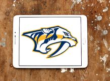 Nashville Predators ice hockey team logo. Logo of Nashville Predators club on samsung tablet. The Nashville Predators are a professional ice hockey team Royalty Free Stock Image