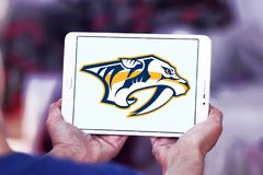 Nashville Predators ice hockey team logo. Logo of Nashville Predators club on samsung tablet. The Nashville Predators are a professional ice hockey team Royalty Free Stock Photo