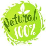 Logo 100% natürlich mit Blättern Ausweis des biologischen Lebensmittels im Vektor Lizenzfreie Stockbilder