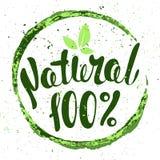 Logo 100% natürlich mit Blättern Ausweis des biologischen Lebensmittels im Vektor (Lattich Lizenzfreie Stockbilder