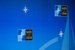 Logo of NATO North Atlantic Treaty Organization. 12.07.2018. BRUSSELS, BELGIUM. Logo of NATO North Atlantic Treaty Organization, during NATO SUMMIT 2018 royalty free stock photography