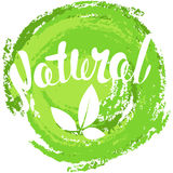 Logo Natural with leaves, natural product. Organic food badge in Stock Images
