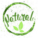 Logo Natural with leaves, natural product. Organic food badge in Royalty Free Stock Photos