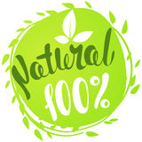 Logo 100% Natural with leaves. Organic food badge in vector. Logo 100% Natural with leaves, natural product, organic, healthy food. Organic food badge in Royalty Free Stock Images