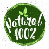 Logo Natural met bladeren, natuurlijk product Natuurvoedingkenteken binnen Stock Afbeeldingen