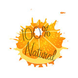 Logo natural 100 percent fruit orange. Logo natural 100 percent orabge fruit Stock Images