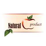 Logo of natural product with apple. Vector image with stylized apple, spring green leaves and signs on white and pink background. Logo of natural product Royalty Free Stock Photography