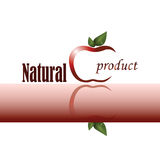 Logo of natural product with stylized apple. Vector image with stylized apple, green leaves and signs on white and red background. Logo of natural product Royalty Free Stock Photography