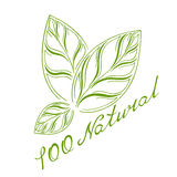 Logo 100% natural. Logo with three green leaves and lettering one hundred percent natural Stock Illustration