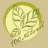 Logo 100% natural. Logo with three green leaves and lettering one hundred percent natural Royalty Free Illustration
