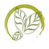 Logo 100% natural. Logo with three green leaves and lettering one hundred percent natural Vector Illustration