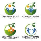 Logo naturale di concetto di benessere di salute Immagini Stock