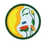 Logo Nature hace frente a la flor Fotos de archivo libres de regalías