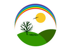 Logo nature. Logo round form, tree and rainbow Royalty Free Stock Photo