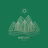 Logo nature. Vector logo of nature elements on green background. Linear icon of landscape with trees, mountains  - business emblems, badge for a travel, tourism Royalty Free Stock Photo