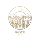 Logo nature. Vector logo of nature elements on white background. Linear icon of landscape with trees and sun - business emblems, badge for a travel, farming and Stock Photo