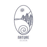 Logo nature. Vector logo of nature on white background. Linear oval icon of landscape with trees, river and sun. Business emblem, badge for a travel, farming and Royalty Free Stock Photo