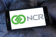 NCR Corporation logo. Logo of NCR Corporation on samsung mobile. NCR is a company that makes self service kiosks, point-of-sale terminals, automated teller royalty free stock photos
